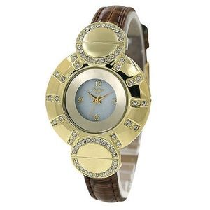Gold Crystal Case White Dial Brown Leather Band Wo